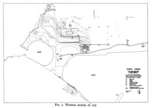 "Love, I. 1970. ""A Preliminary Report of the Excavations at Knidos, 1969."" American Journal of Archaeology 74:149-155 (plate 37, Fig.1). Trireme harbor to the left, commercial harbor to the right."