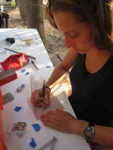 Drawing ceramics at the METU excavation house