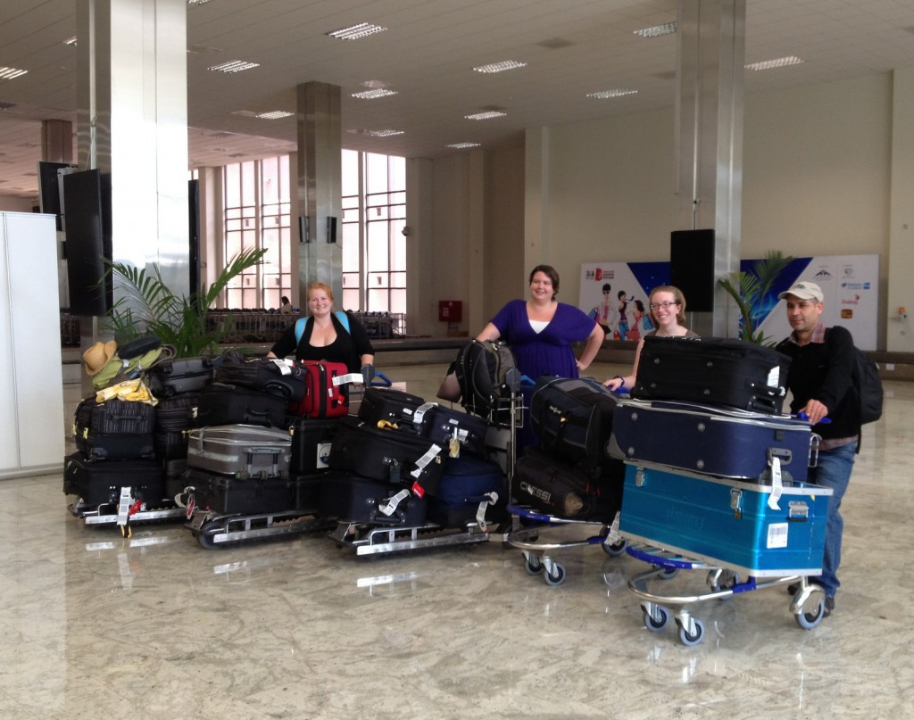 Laura White, Megan Collier, Karen Martindale, and Zafer Gul with all the team's luggage at Colombo airport.