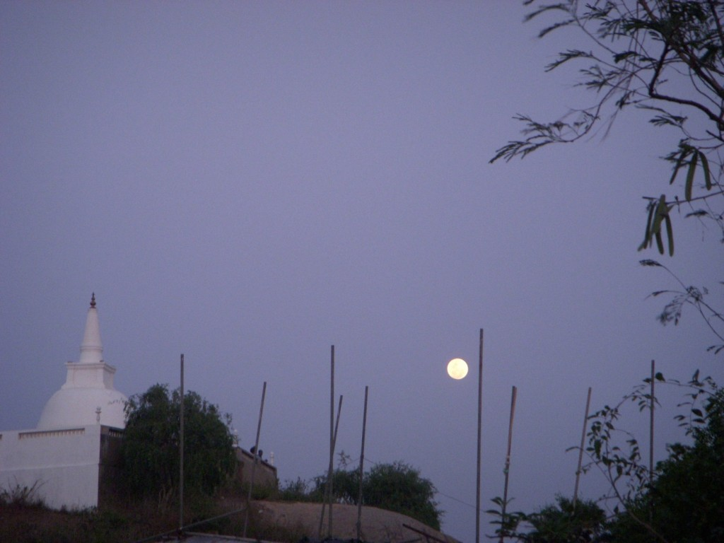 The Stupa at Godawaya under the glow of a full moon.  Photo by Megan Colllier.
