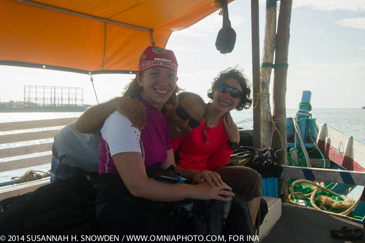 Karen, Zafer, and Arianna on the Sea Horse, heading out for a morning dive.  Photo by Susannah Snowden.