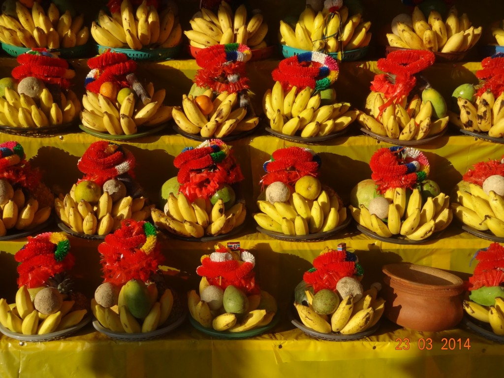 Fruits for sale as offerings in the Kataragama market.  Photo by Angie Sunker.