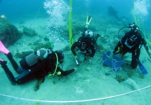 "Marissa working underwater on the ""Church Wreck"" at Marzamemi, Sicily"