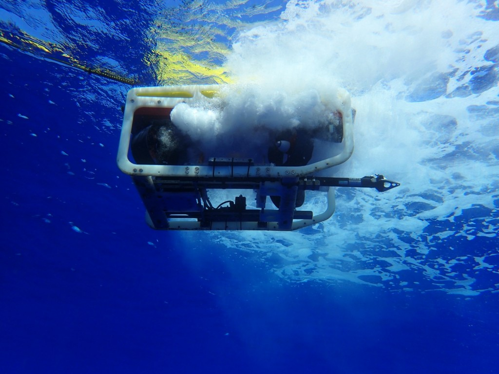 The SeaEye Flacon ROV prepares to dive (photo: Douglas Inglis)