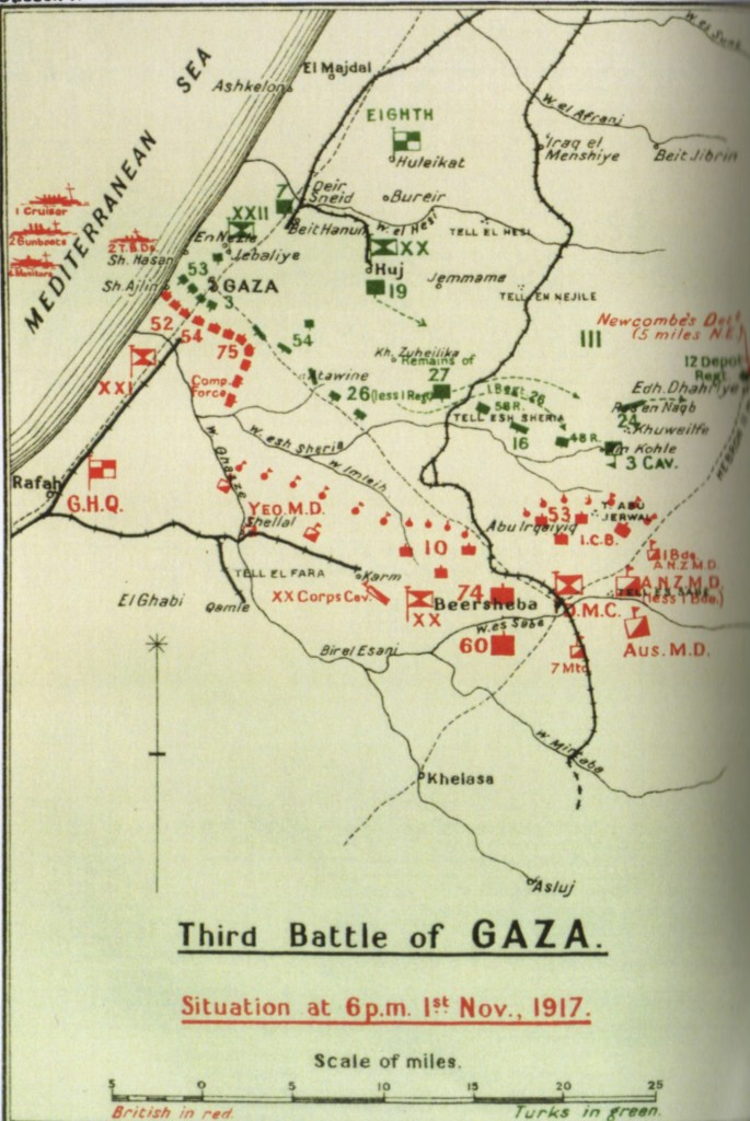 Falls' 1930 Map of Gaza to Beersheba Line on 1 November 1917, from History of the Great War Based on Official Documents by Direction of the Historical Section of the Committee of Imperial Defence Military Operations Egypt & Palestine from June 1917 to the end of the War, Volume 2, Part 1