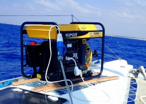As the ROV struggled in the current, it drew more power than our generator could handle.