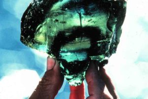 An emerald green glass chunk. This piece was one of over two tons of raw glass recovered from the Serçe Liman1 shipwreck. (Photo: INA) Slide# GW-1312. REF4394