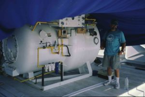 Decompression chamber kept on hand in case of DCS (Photo: INA) Slide # TEK-086. REF661