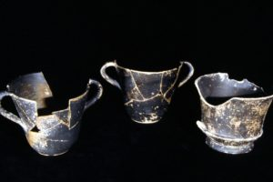 Three black-glazed drinking cups (kantharoi) from the wreck (Photo: Don Frey). REF666
