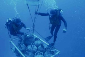 Over 100 amphoras and numerous other finds were transported to the surface during the excavation from 1961 to 1964 using lifting balloons. (Photo: INA) Slide# YA7-696. REF746