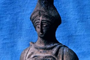 The bronze Athena bust counterweight. Hollow cast bronze filled with lead. (Photo: INA) Slide# YA7-443.  REF753