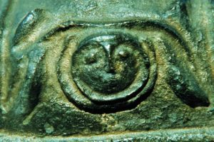 Close-up of the gorgon or Medusa head on the chest of the bust. (Photo: INA) Slide# YA7-447). Close-up of the gorgon or Medusa head on the chest of the bust. (Photo: INA) Slide# YA7-447). REF761