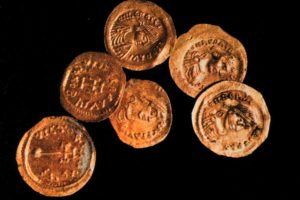 Some of the 16 gold coins (semisses and tremisses) found on the shipwreck. (Photo: INA) Slide# YA7-467). REF759