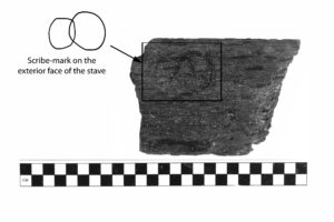 A broken fragment of the barrel stave displaying a scribe-mark carved on its exterior face. REF4441