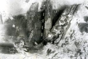 Stern assembly as discovered in 1989 excavation (photo courtesy of the BMM). REF4509