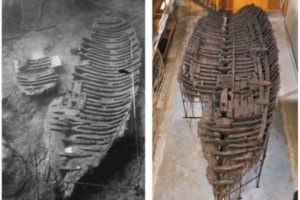 Kyrenia shipwreck in situ and after conservation and reconstruction (Photo: Susan Katzev).  REF4232