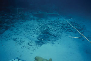 The Western Ledge Reef Wreck site with partly uncovered timbers (photo courtesy of the BMM). REF4493