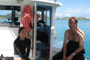 Bermudian volunteers Elena Strong and James Davidson. (photo taken during the 2008 season by P. Bojakowski) REF4448