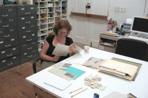 Archaeologist, Katie Custer-Bojakowski, conducts the archival research (photograph, P. Bojakowski). REF4499