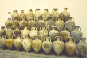Amphoras recovered from the wreck site for study (Photo: INA).  REF4345REF4345