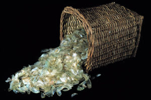 Broken glassware constituted a substantial portion of the ship's cargo and would have been carried in wicker baskets similar to the one seen here. (Photo: INA, Slide# GW-1393). REF4378