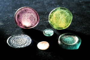 Fatimid Islamic glass coin weights. (Photo: INA, Slide# GW-2536). REF4382