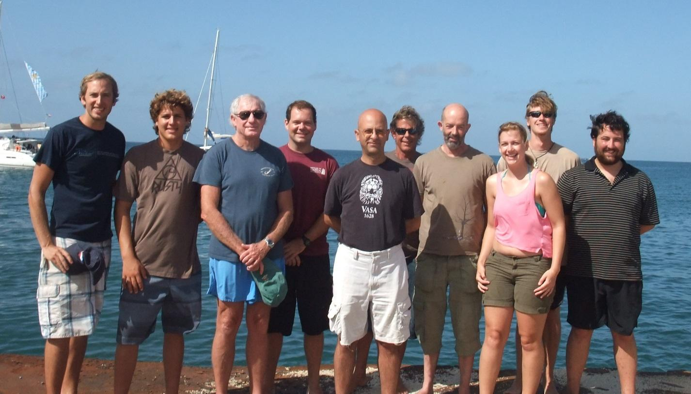 "The 2013 RBRP Team (from left to right): Doug Inglis, Matthew Milne, Bob Steinhoff, Mike Gilbart, Dr. Kroum Batchvarov, Capt. Iain ""Wabba"" Milne, Dr. Nigel Nayling, Cassie Devney, Joe Bingaman and Tom Lacey."