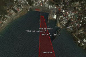 Aerial view of at risk cultural material located in the pathway of the Trinidad and Tobago Ferry REF5040