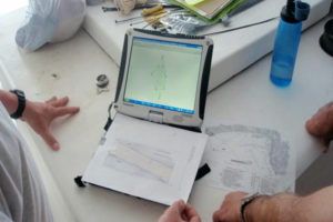 Using contemporary naval charts, historical survey records and modern recording data to try to establish the identity of a wreck. 2012 REF5039