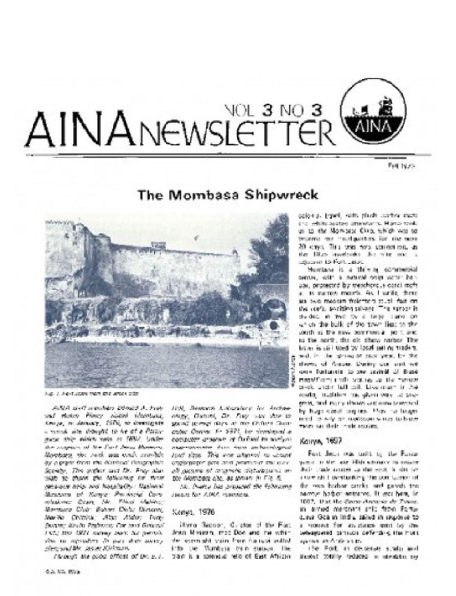 AINA Quarterly 3.3 Fall 1976