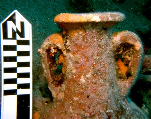 An African 3C amphora on the Ioni wreck site.