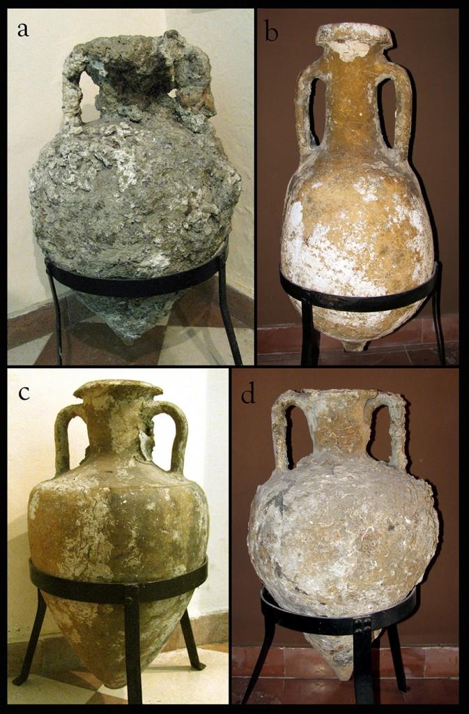 Amphoras at the Kotor Maritime Museum; a, c, and d - Corinthian type B amphoras; b - Lamboglia 2 type amphora. Photograph by J. Royal.
