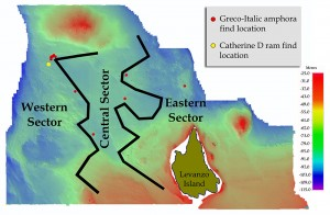 The Egadi Islands survey area demarcating seafloor topography sectors and find locations for Greco-Italic amphoras and the Catherine D ram. Map by J. Royal, RPMNF.