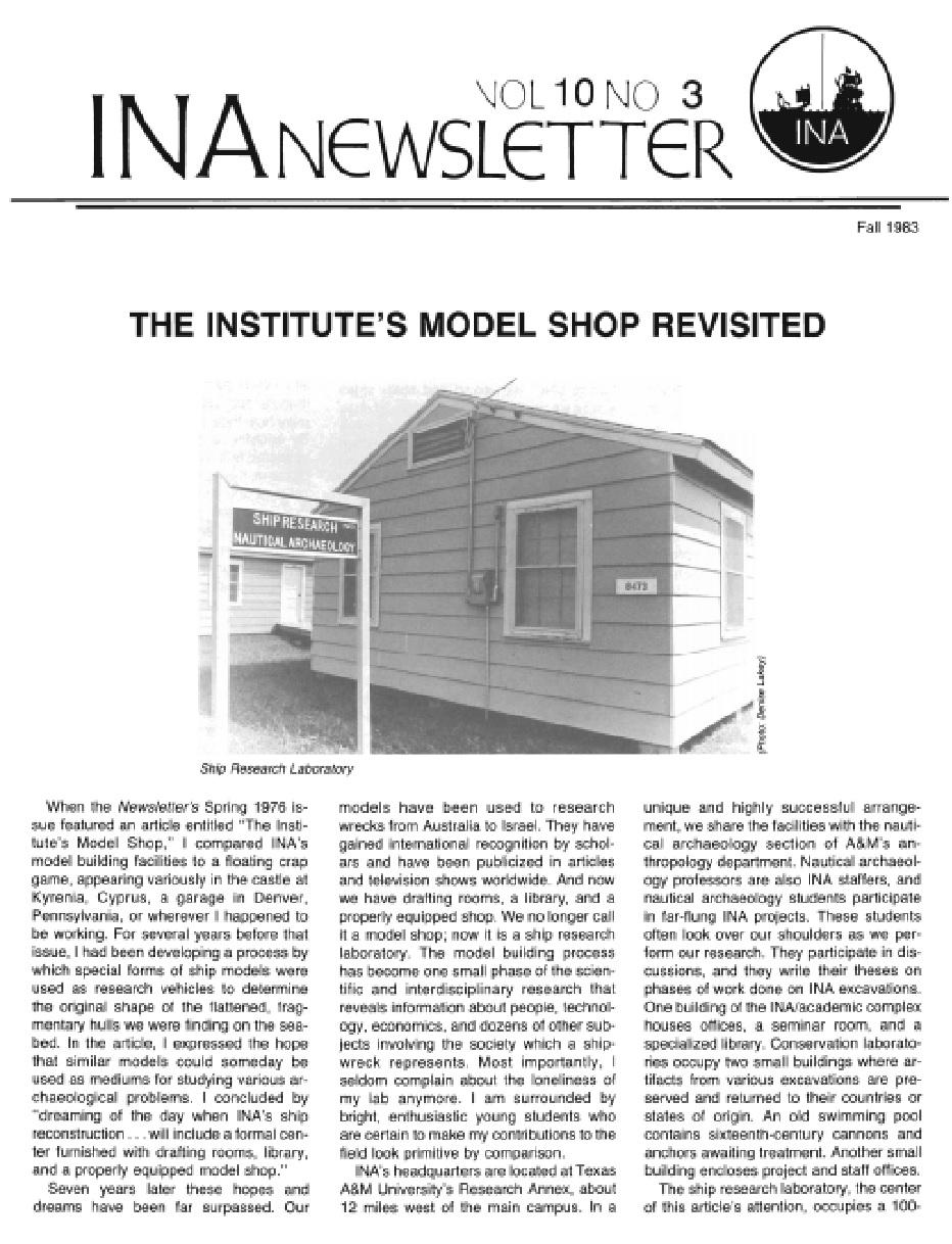 INA Quarterly 10.3 Fall 1983