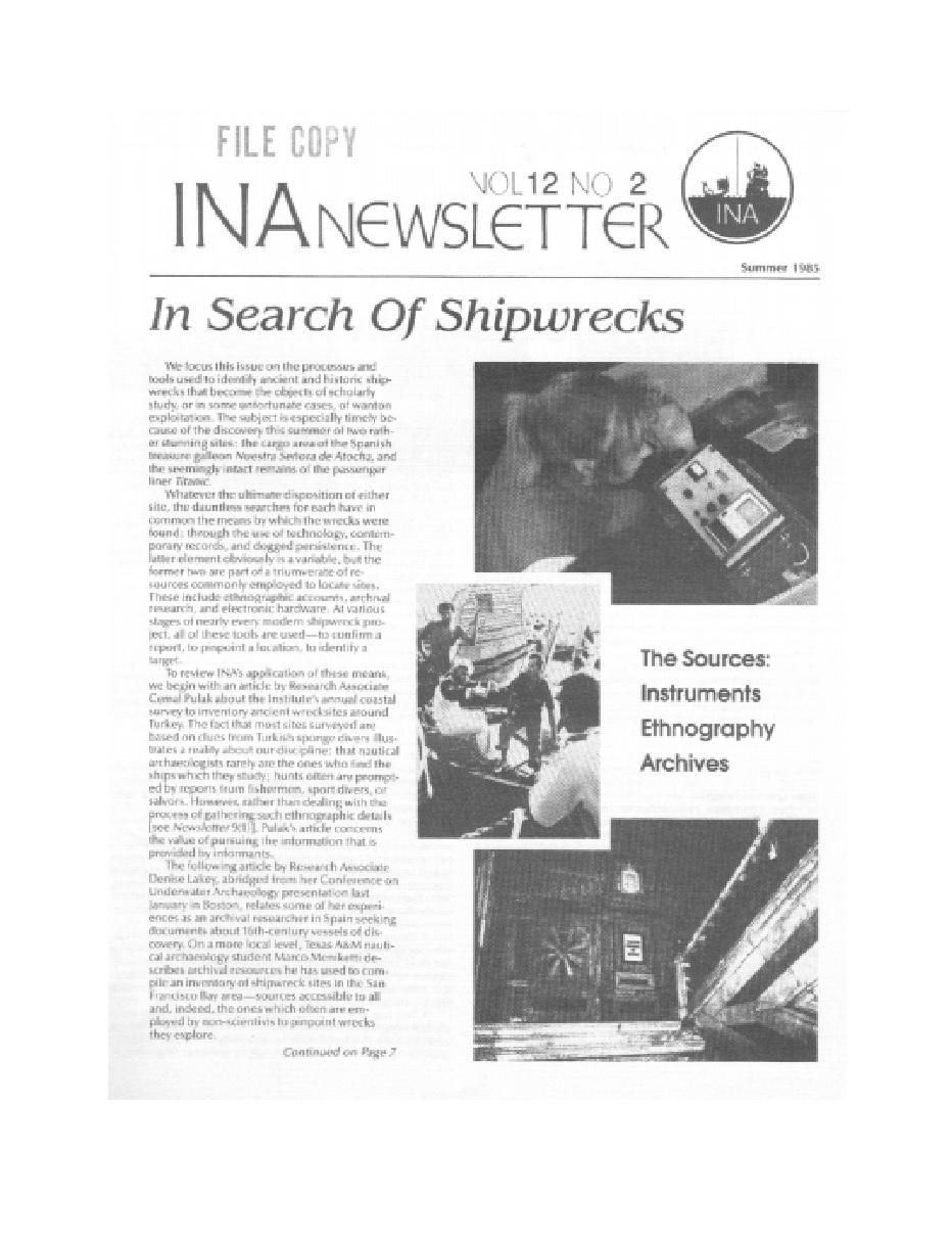 INA Quarterly 12.2 Summer 1985