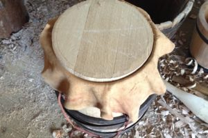 A firkin after trussing and its second heating, waiting to have its head shaped and fitted. (Photo: G. Tsai) REF6473
