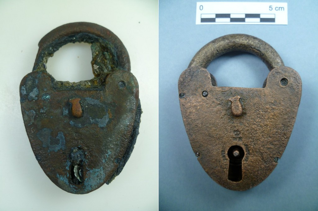 Brass padlock from SS Great Liverpool (Photo: V. Folgueira).