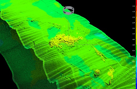 Figure 2. Multibeam image of the shipwreck remains (Image: Miguel San Claudio).