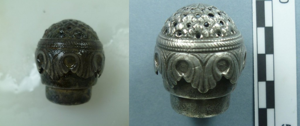 Silver salt shaker from SS Great Liverpool (Photo: V. Folgueira).