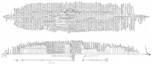 Fig. 5: Scaled site plans of Phoenix I (top) and stbd. side of Phoenix II (bottom). Both wrecks are similar in timber sizes and placements, and the overall lengths and beams are within just a couple of feet! (Top: G. Schwarz, 2012; Bottom: C. Kennedy, 2014).
