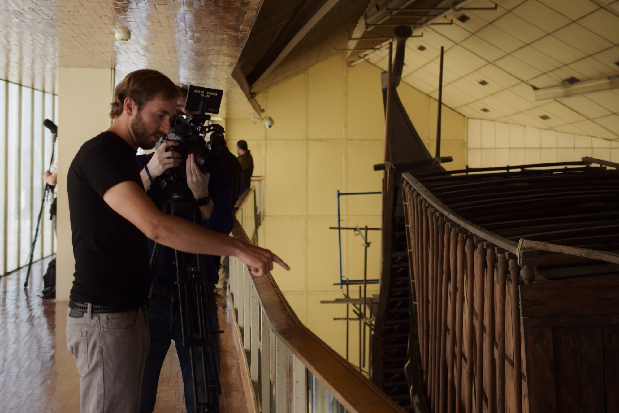 Doug pointing out the construction features of Khufu's Royal Boat.