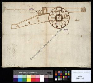 Fig. 5 Illustration of a late 16th century siege gun carriage (Archivo General de Simancas, Spain).