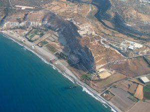 Fig. 1: Aerial view of the ancient Kourion area, showing also the submerged construction.