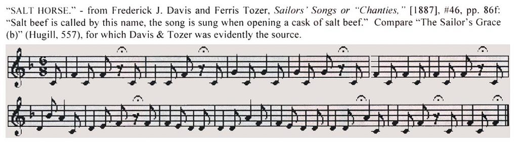 From: Frank, Stuart M. Jolly Sailors Bold: Ballads and Songs of the American Sailor. East Windsor, NJ, Cansco Music, 2010.