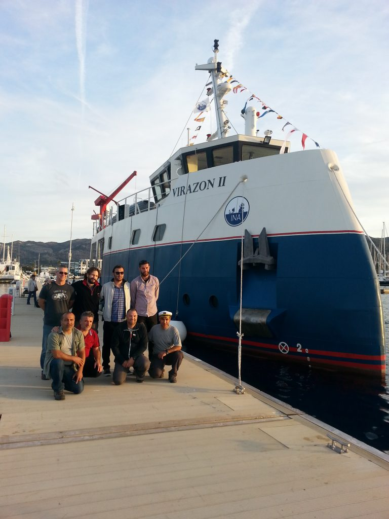 Virazon II and crew after they arrived in the Yalikavak Marina.